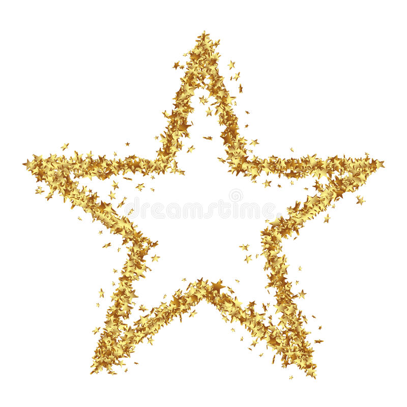 Star Shaped Golden Confetti Stars on White Background stock illustration