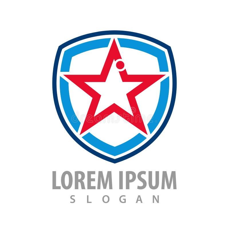 Star shield line logo concept design. Symbol graphic template element vector vector illustration