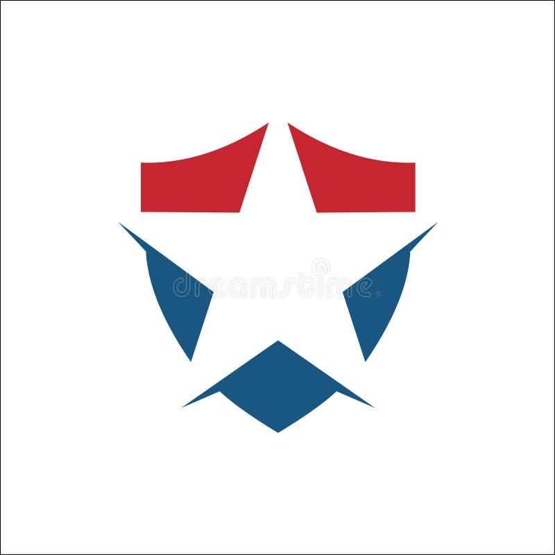 Star with shield logo vector stock illustration