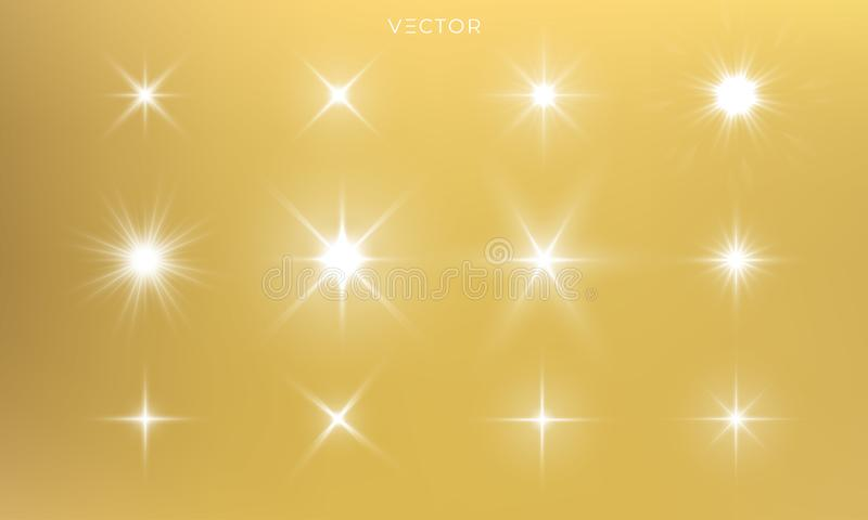 Star shine, golden light glow sparks, vector bright gold sparkles with lens flare effect. Isolated sun flash and starlight stock illustration