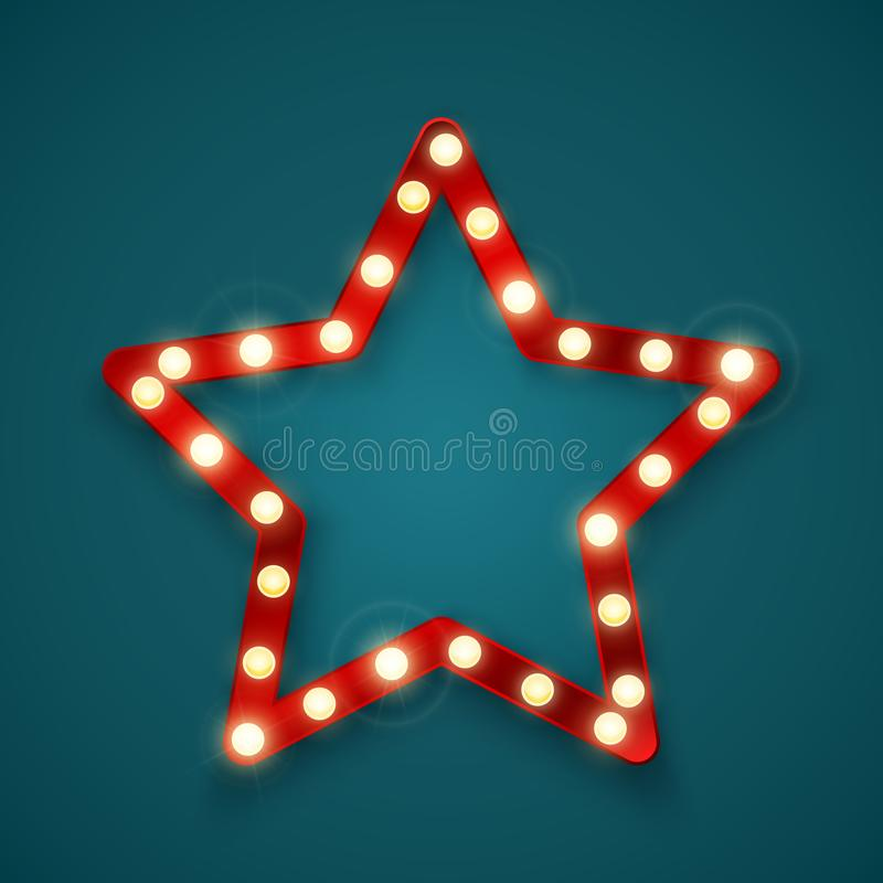 Star signboard. Retro banner sign with space for text. Vector illustrtion.  royalty free illustration