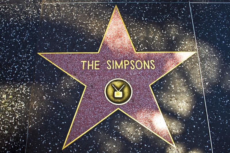The star for The Simpsons on royalty free stock images