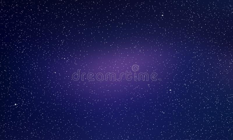 Star sky, starry night light space vector background. Northern lights glow, aurora abstract galaxy stars background stock illustration