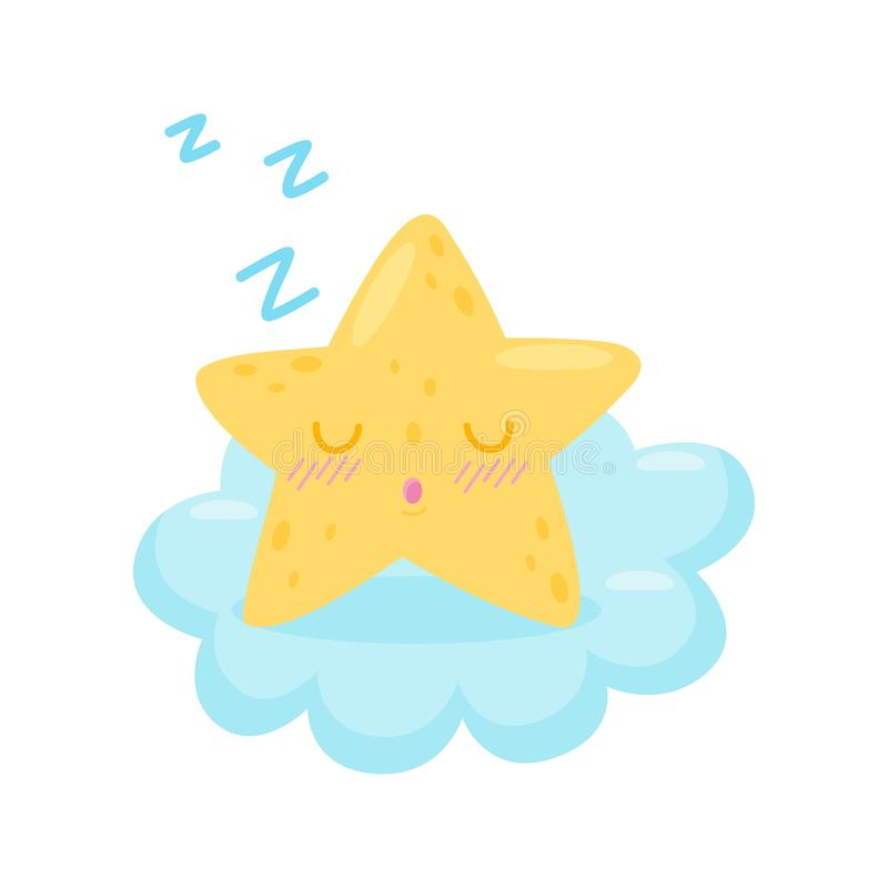 Star sleeping on cloud on white background. royalty free illustration