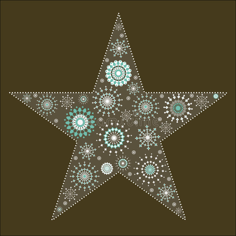 Star Snowflake Tapestry 2. Snowflakes in shape of star bordered by small circles vector illustration