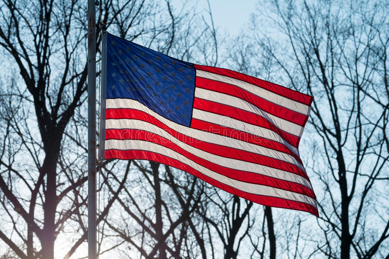 Star Spangled Banner. American flag waving in the wind at sunset with trees in the background stock photos