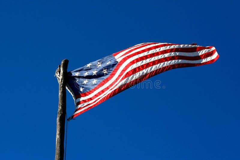 Star Spangled Banner Flag, 15 Stars. Flying 15 star, star spangled banner flag against a blue sky stock photo
