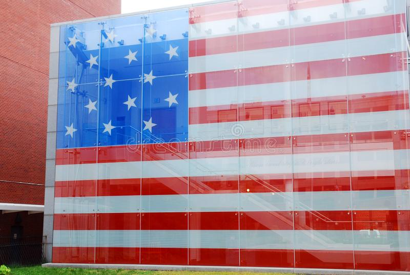 The Star Spangled Banner. A full scale replica of the Star Spangled Banner, the flag that inspired the National Anthem, sits at the Star Spangled Banner Home royalty free stock photos