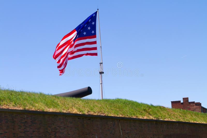 Star Spangled Banner. A replica of the 15-star/15-stripe U.S. flag that currently flies over Fort McHenry royalty free stock photography