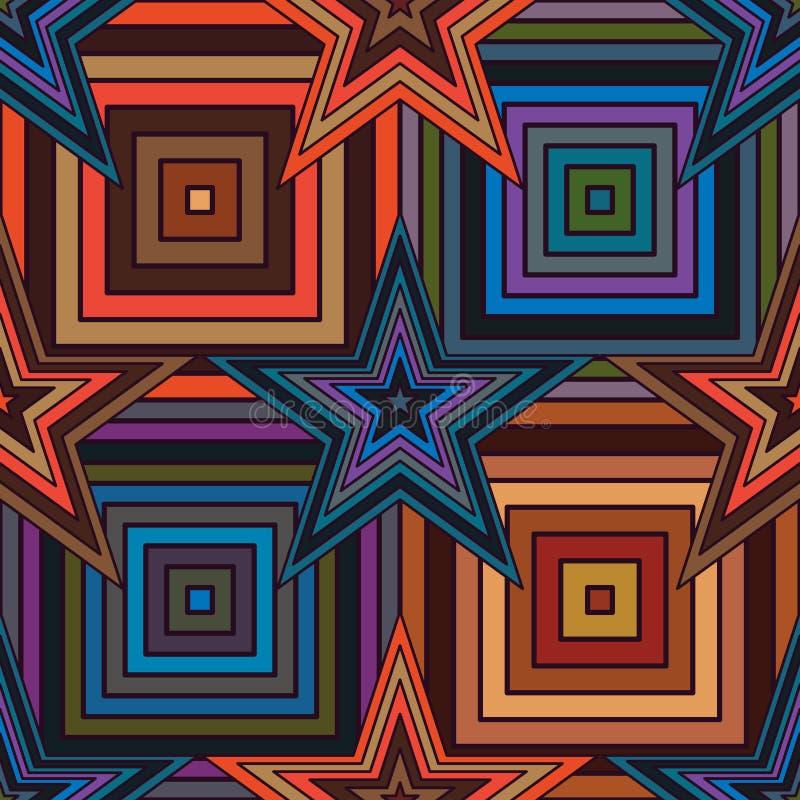 Star square line seamless pattern royalty free illustration