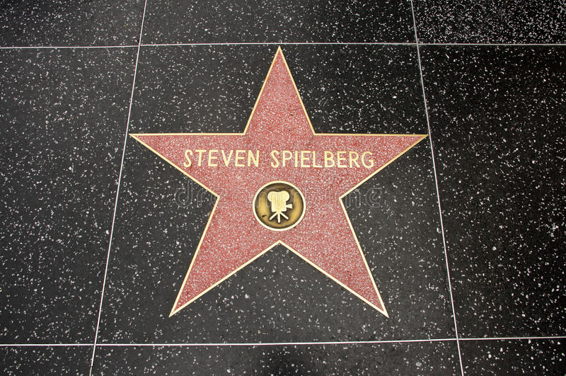 The star of Steven Spielberg. On the walk of fame on Hollywood blvd, Los Angeles, California royalty free stock photo