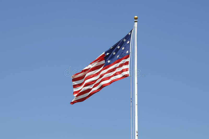15-star 15-stripe Star Spangled Banner American flag. At Fort Jay on Governors Island royalty free stock photos