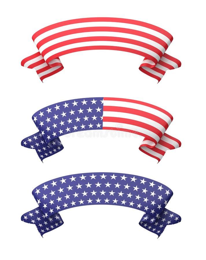 Star striped ribbon banners set. vector illustration