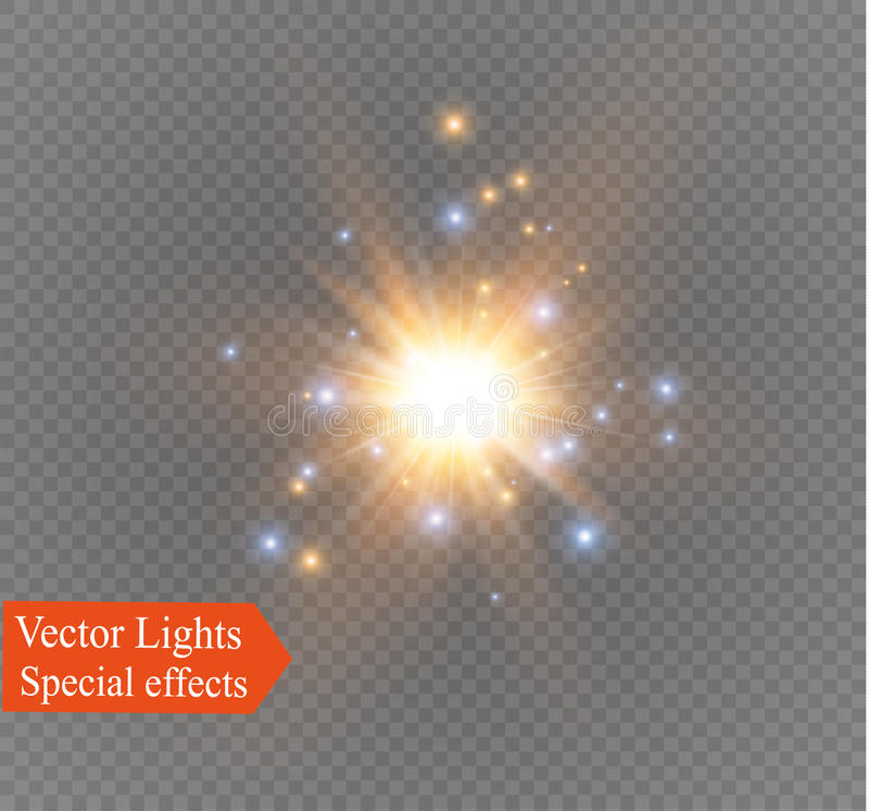 Star su un fondo trasparente, l'effetto della luce, illustrazione di vettore scoppio con le scintille royalty illustrazione gratis