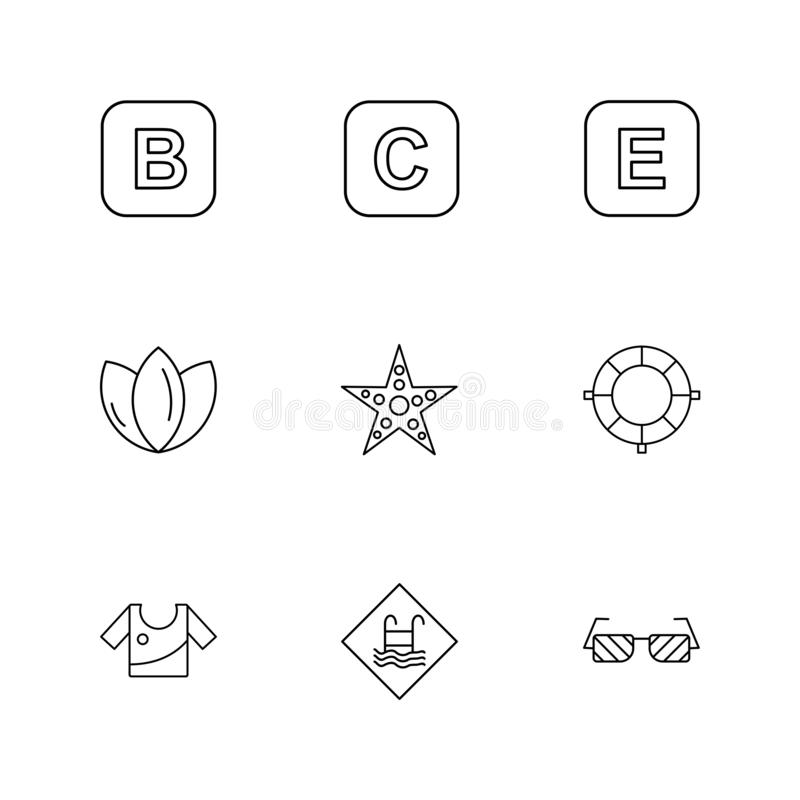 Star , swimming pool , dress , flower , alphabets , sea , food stock illustration