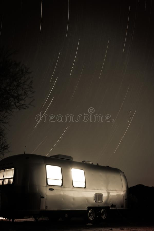 Free Star Swirl Above Desert Airstream Campsite. Royalty Free Stock Image - 129307966