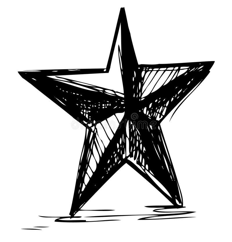 Star symbol in doodle style stock illustration