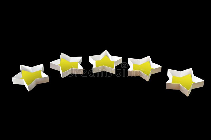 Star symbol, hand made from cardboard, the concept of a positive or negative rating, reviews and feedback. Isolated on black background royalty free stock photography