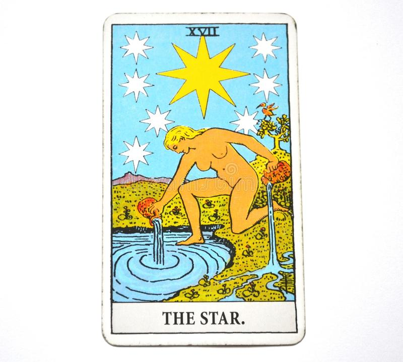 The Star Tarot Card Hope, happiness, opportunities, optimism, renewal, spirituality royalty free stock image