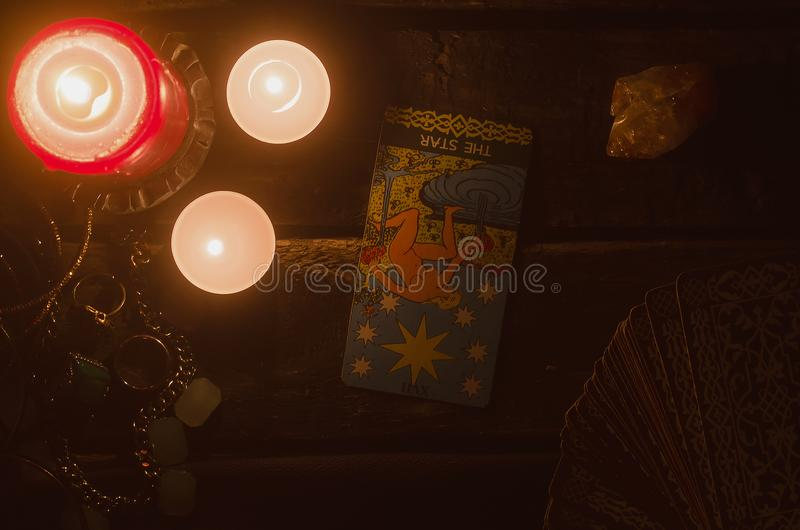 The star Tarot card. The star inverted Tarot card. Fortune teller. Future reading royalty free stock images