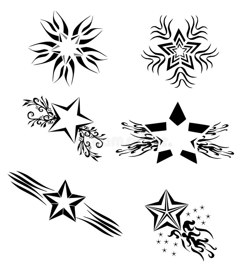 Download Isolated Set Of Stars Tattoo In Black Stock Photo - Image: 17328290