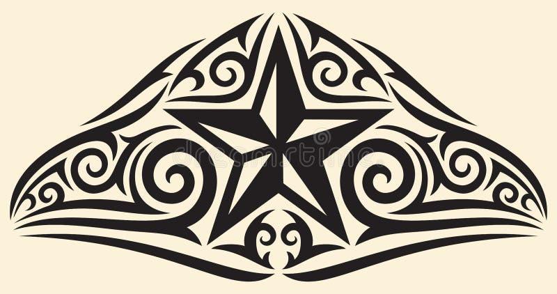Star tattoo. Star tribal design, star tattoo design stock illustration