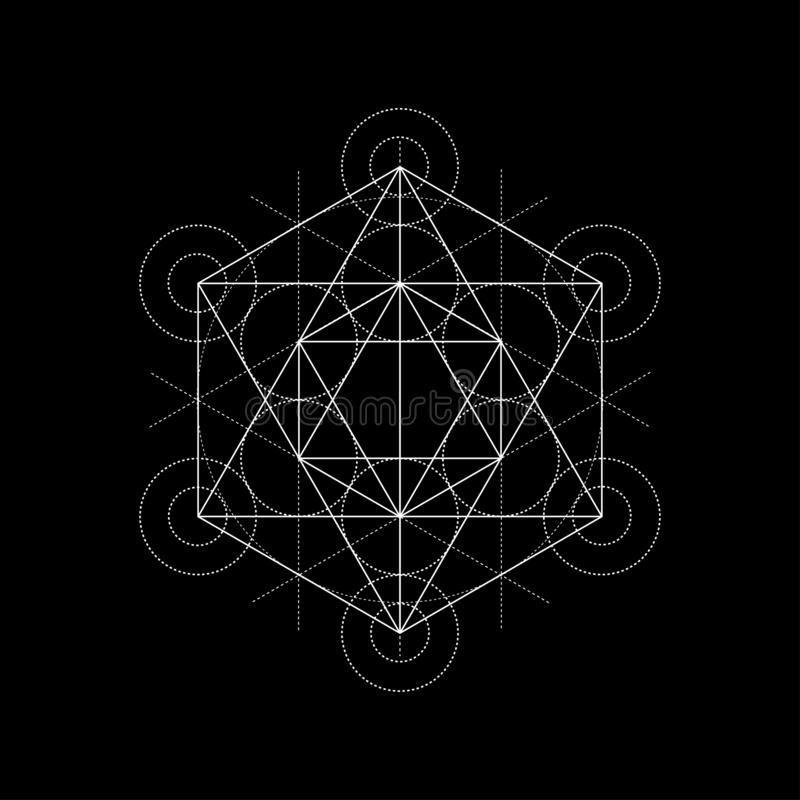 Star tetrahedron from Metatrons cube, sacred geometry illustration on black. Sacred geometry illustration on black background royalty free illustration
