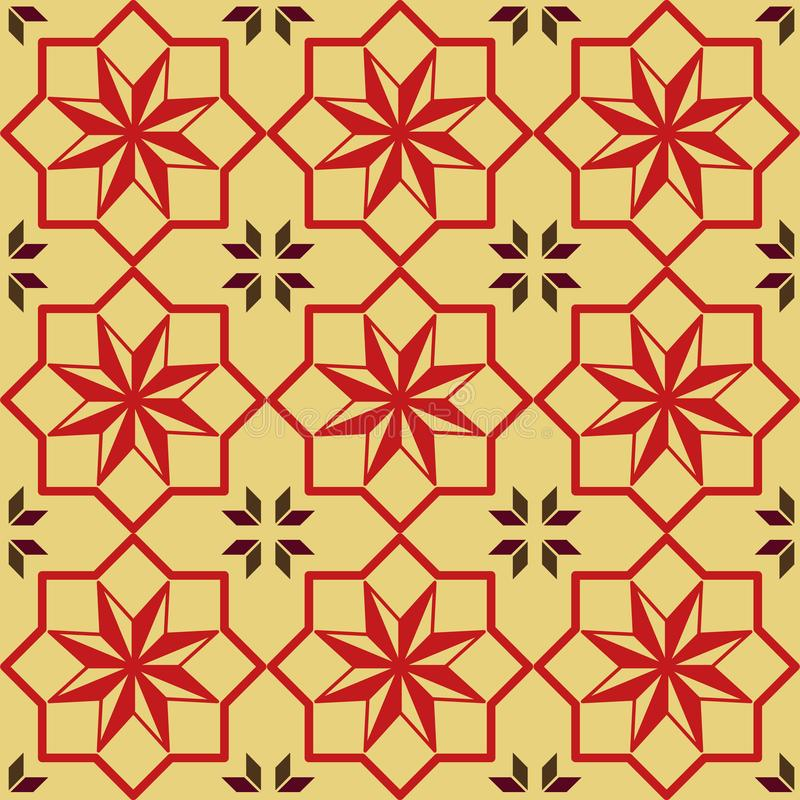 Star texture red seamless pattern - Vintage fabric, wallpapers or papers stock illustration