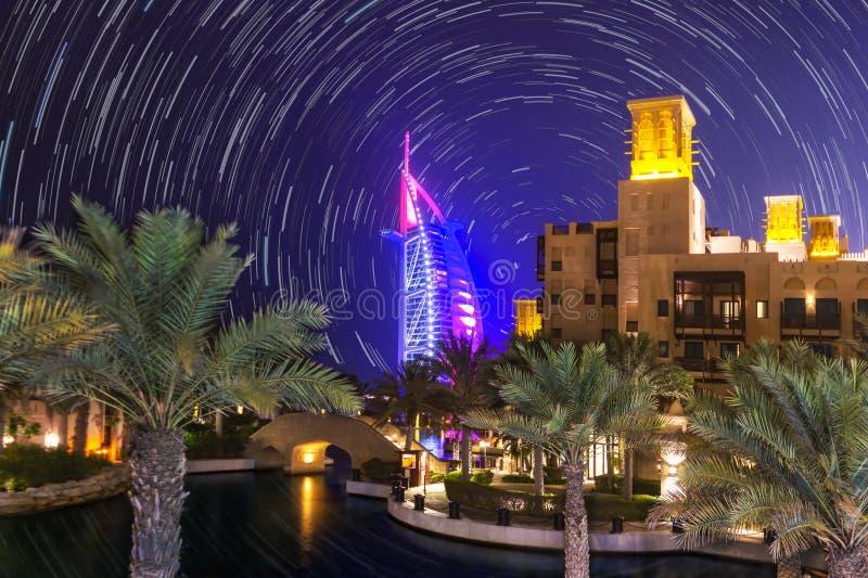 Star trail in Dubai. stock photos