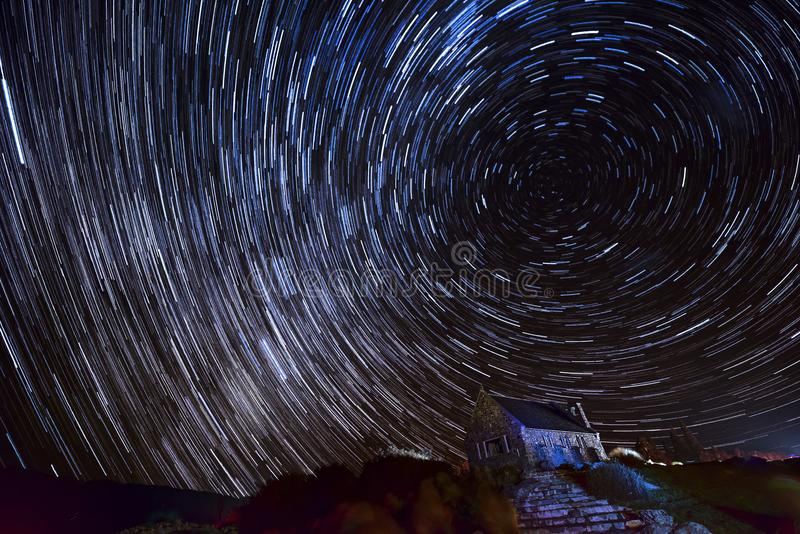 The star trail of the lake Tekapo. In May 2018 at South Island of New Zealand stock image