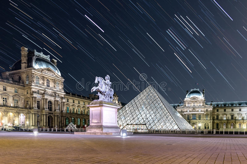 Star Trail at The Louvre. Paris royalty free stock photos