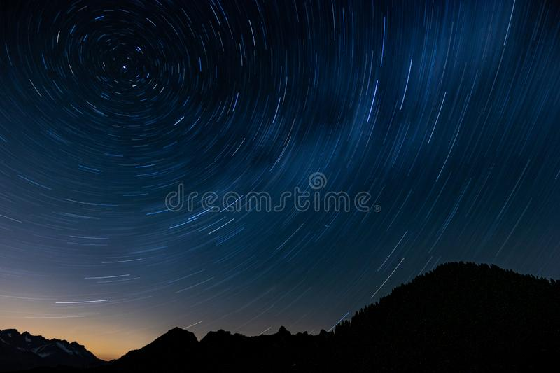 Star trail in mountain stock photos