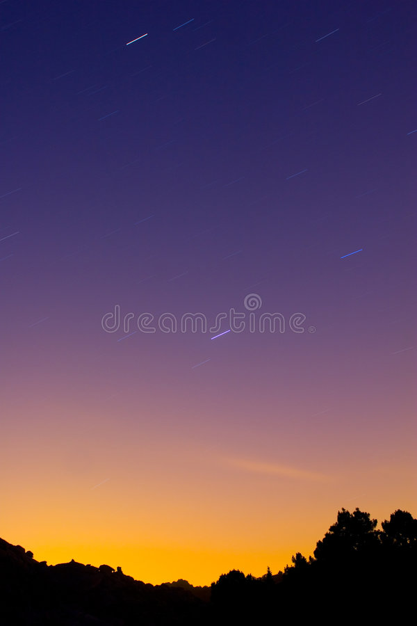 Star trail in mountain landscape royalty free stock images