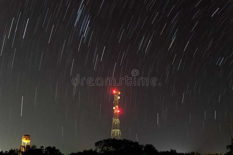Star Trail at night royalty free stock image