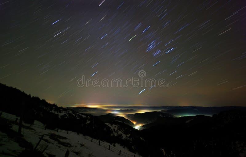 Star trail night sky stock image