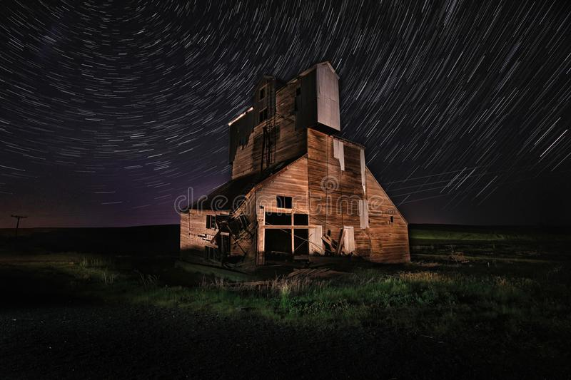 Star Trail Night Time Lapsed Exposure in Palouse Washington stock photo