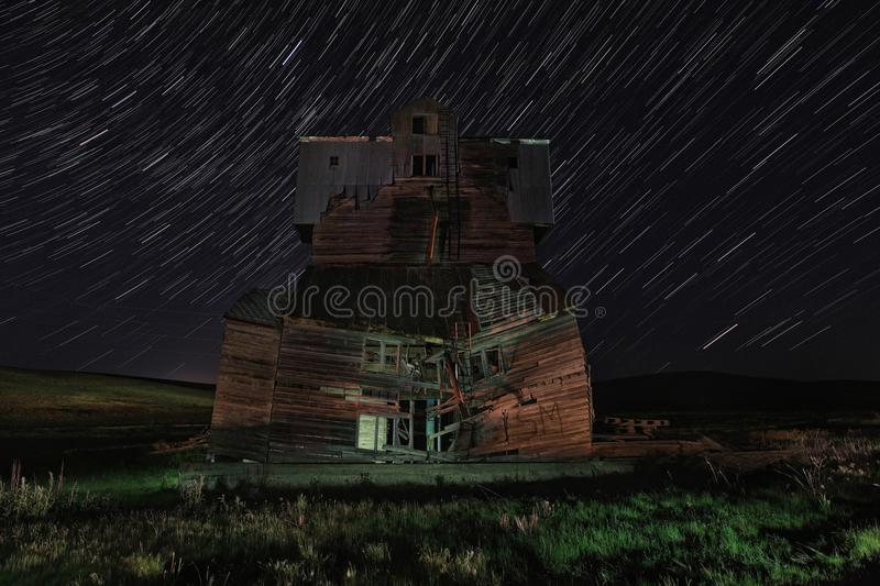 Star Trail Night Time Lapsed Exposure in Palouse Washington royalty free stock image