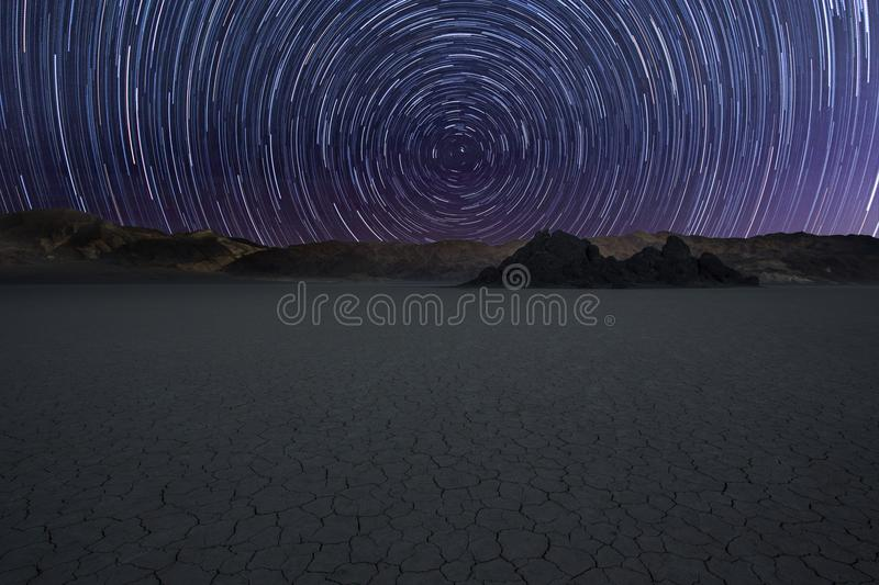 Star trail over Race Track stock photo