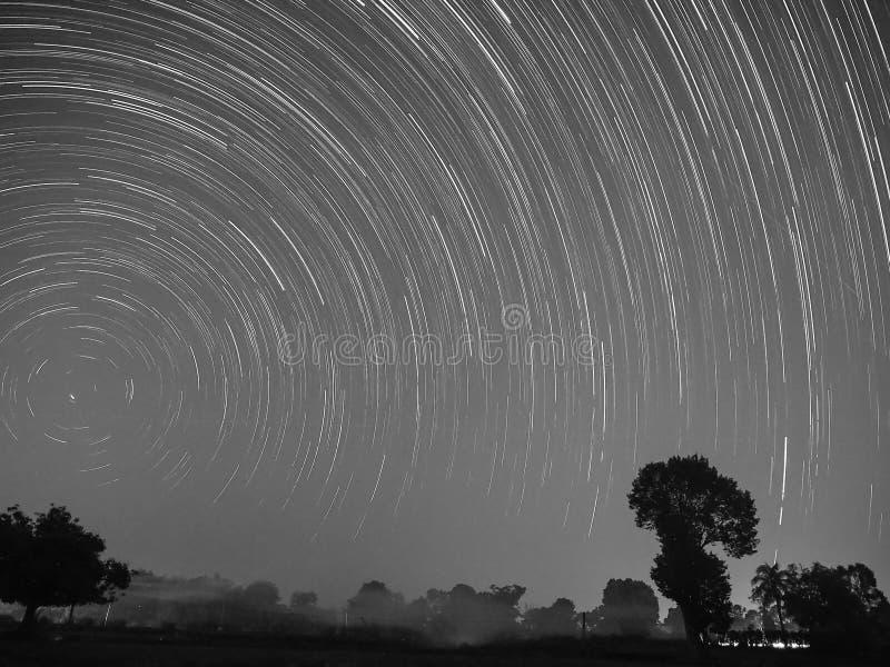 Star trail at sisaket thailand. Startrail over rice fields At Sisaket, Thailand royalty free stock image