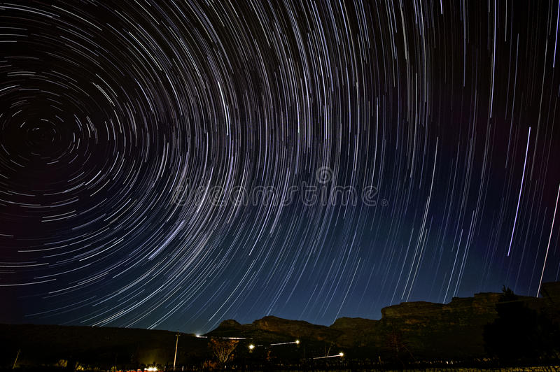 Star trails above Pakhuis Pass royalty free stock photo