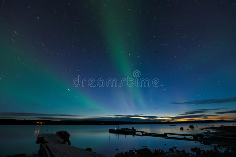 Star Trails and Aurora royalty free stock image