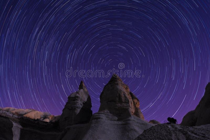 Star trails Cappadocia stock photos