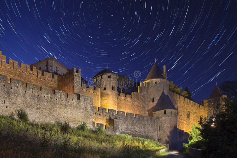 Star Trails - Carcassonne - France royalty free stock photos