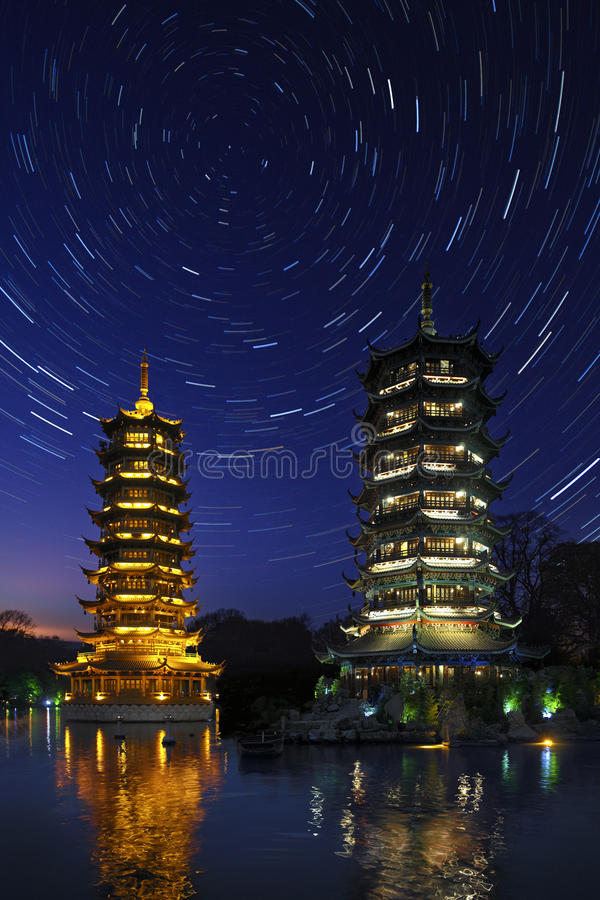 Star Trails - Guilin - China royalty free stock photography