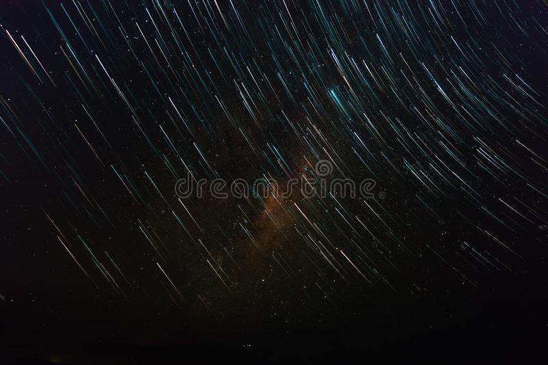 Star Trails and Milky Way In Melbourne Midnight Time stock images