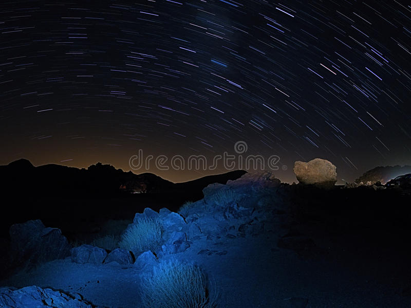 Star trails in national park Teide Tenerife royalty free stock photos