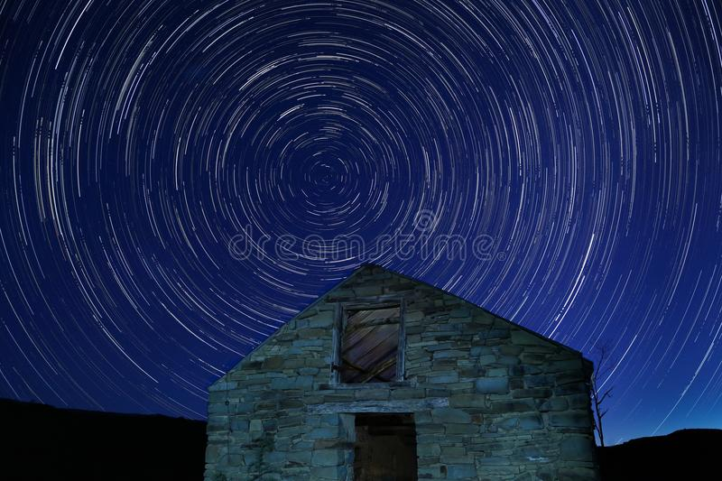 Star trails at night stock image