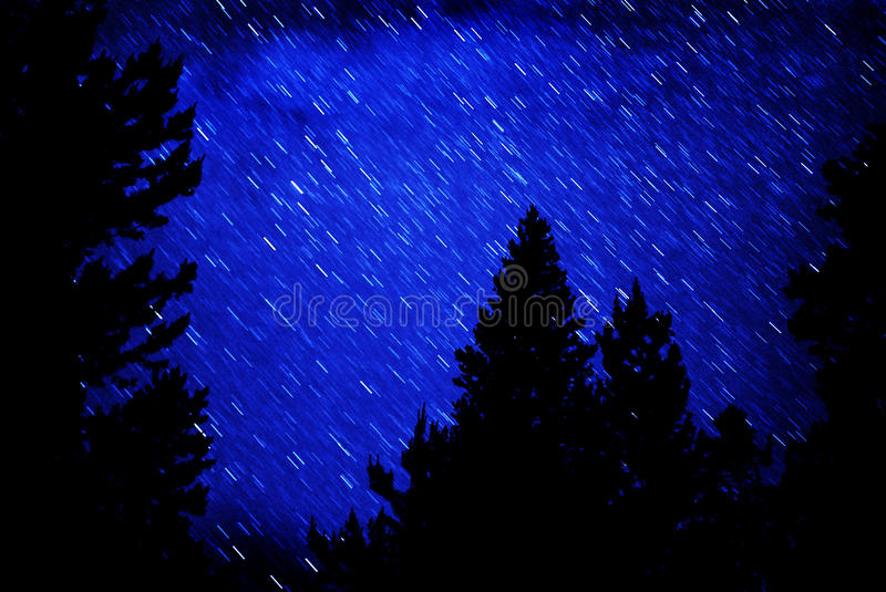 Star Trails in Night Sky stock photos