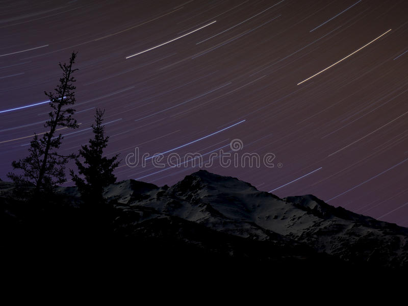 Star Trails over the Alaska Range royalty free stock photos