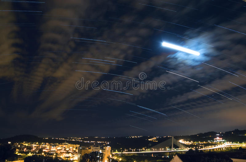 Star trails over Coimbra Portugal stock images